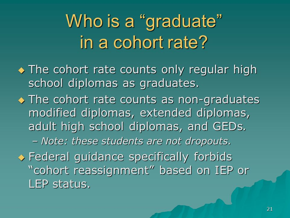 21 Who is a graduate in a cohort rate.