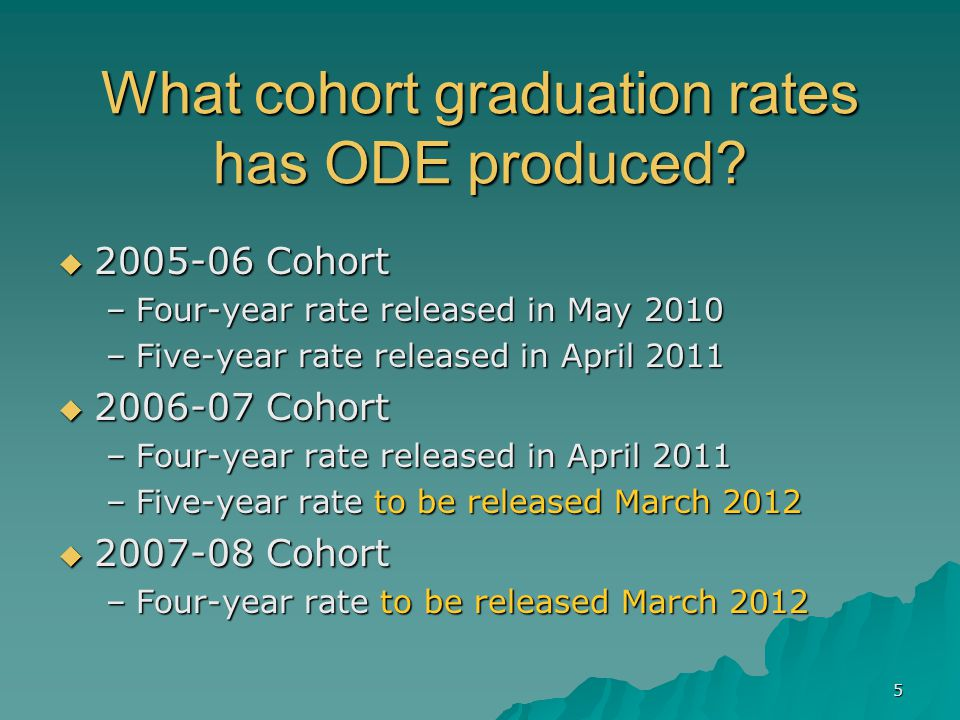 5 What cohort graduation rates has ODE produced.