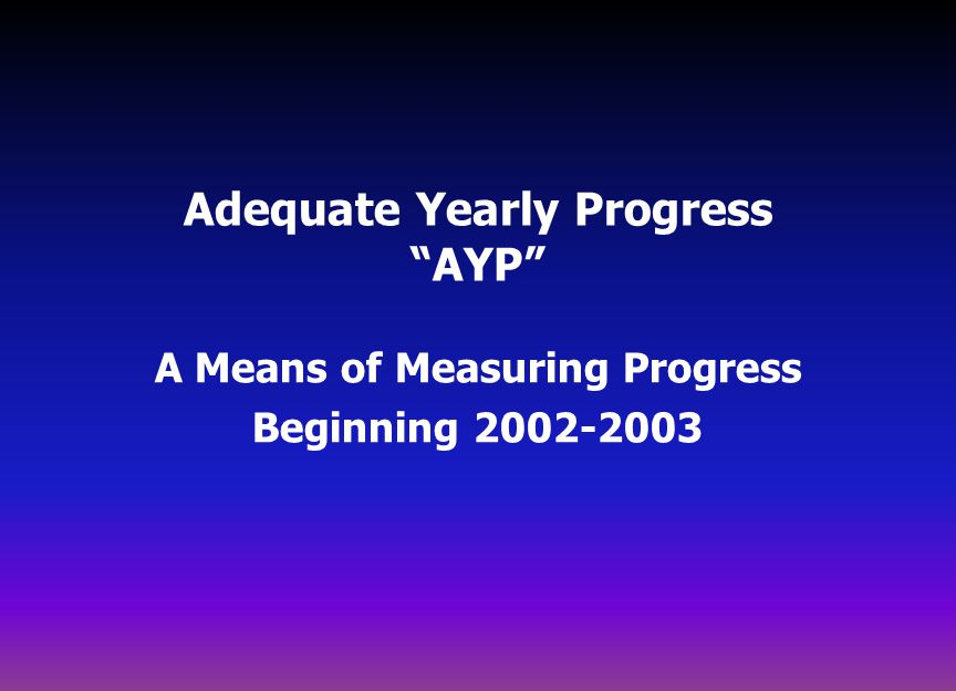 Adequate Yearly Progress AYP A Means of Measuring Progress Beginning