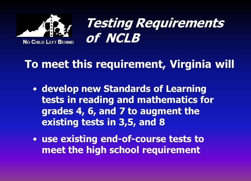 N O C HILD L EFT B EHIND Testing Requirements of NCLB develop new Standards of Learning tests in reading and mathematics for grades 4, 6, and 7 to augment the existing tests in 3,5, and 8 use existing end-of-course tests to meet the high school requirement To meet this requirement, Virginia will