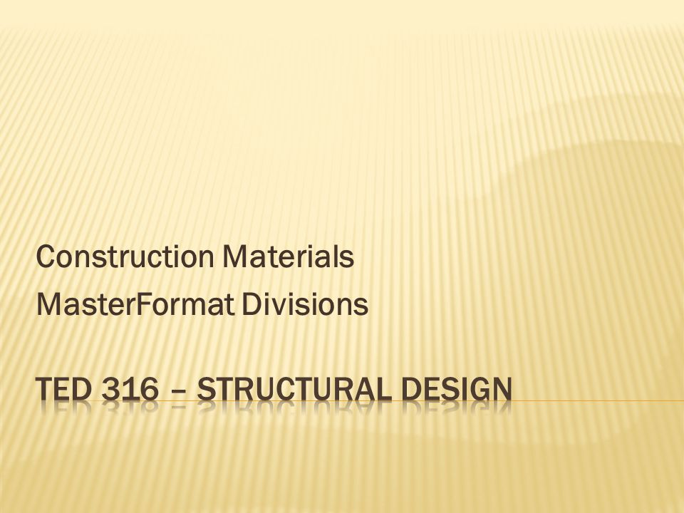 Construction Materials MasterFormat Divisions