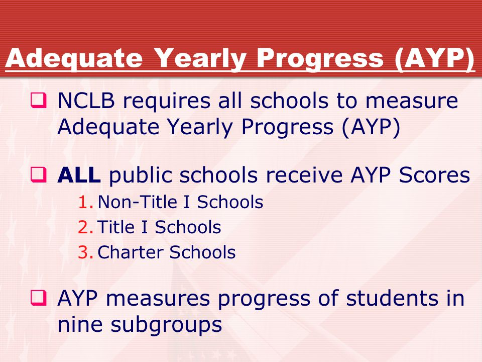 Adequate Yearly Progress (AYP)  NCLB requires all schools to measure Adequate Yearly Progress (AYP)  ALL public schools receive AYP Scores 1.Non-Title I Schools 2.Title I Schools 3.Charter Schools  AYP measures progress of students in nine subgroups