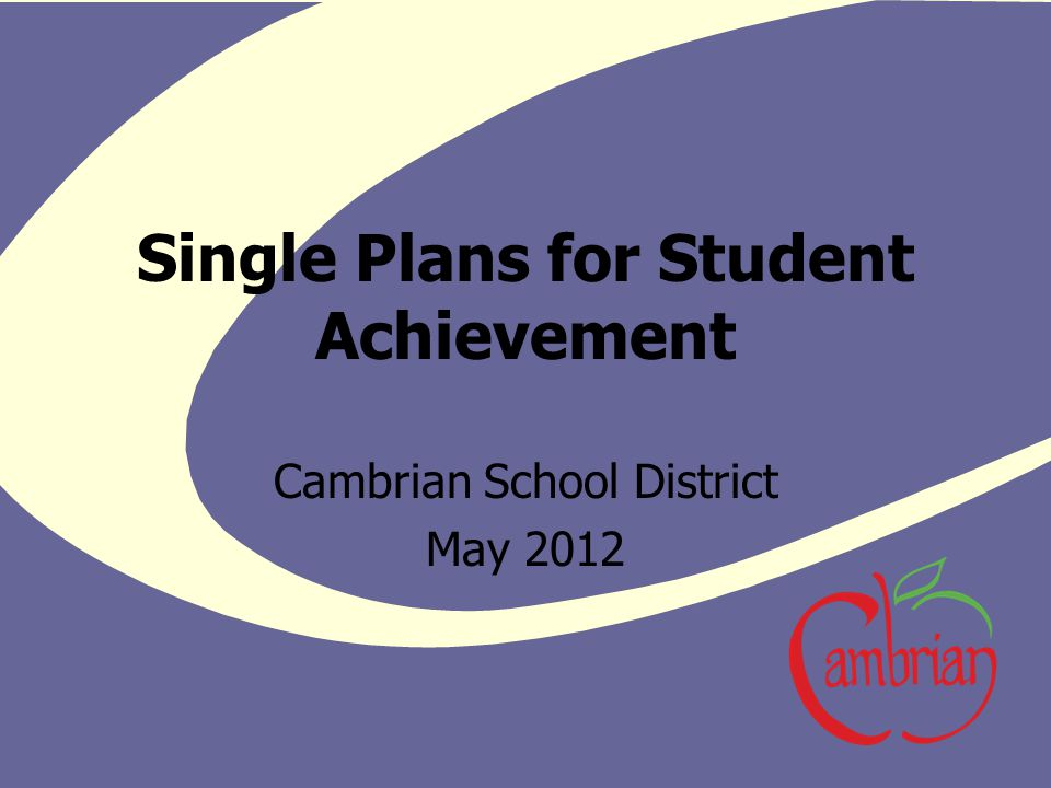 Single Plans for Student Achievement Cambrian School District May 2012