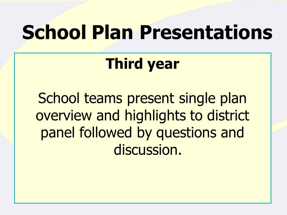School Plan Presentations Third year School teams present single plan overview and highlights to district panel followed by questions and discussion.