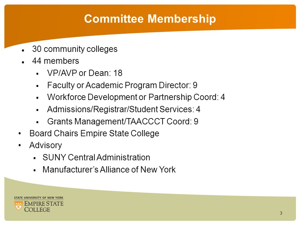 Committee Membership 30 community colleges 44 members  VP/AVP or Dean: 18  Faculty or Academic Program Director: 9  Workforce Development or Partnership Coord: 4  Admissions/Registrar/Student Services: 4  Grants Management/TAACCCT Coord: 9 Board Chairs Empire State College Advisory  SUNY Central Administration  Manufacturer's Alliance of New York 3
