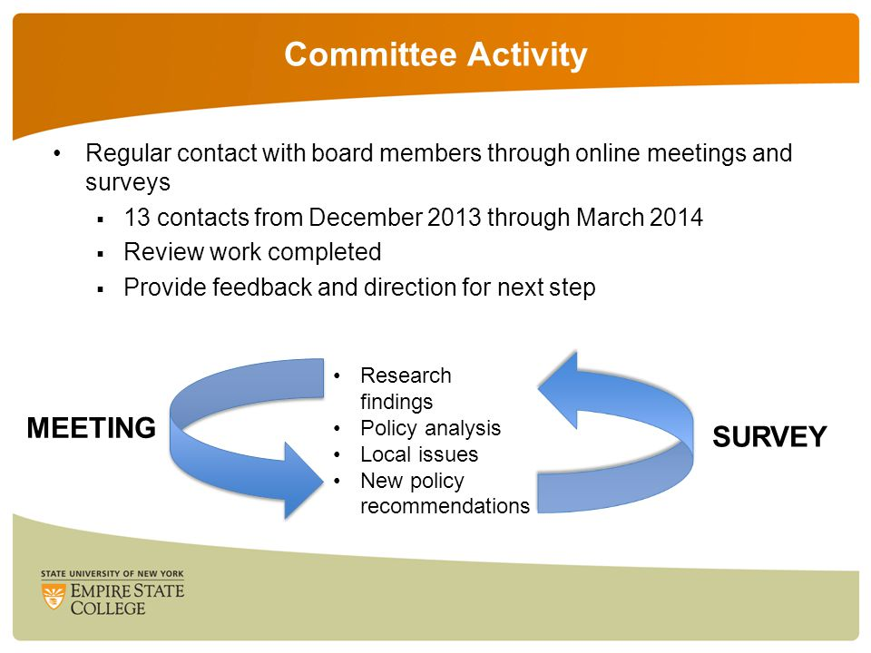 Committee Activity Regular contact with board members through online meetings and surveys  13 contacts from December 2013 through March 2014  Review work completed  Provide feedback and direction for next step MEETING SURVEY Research findings Policy analysis Local issues New policy recommendations