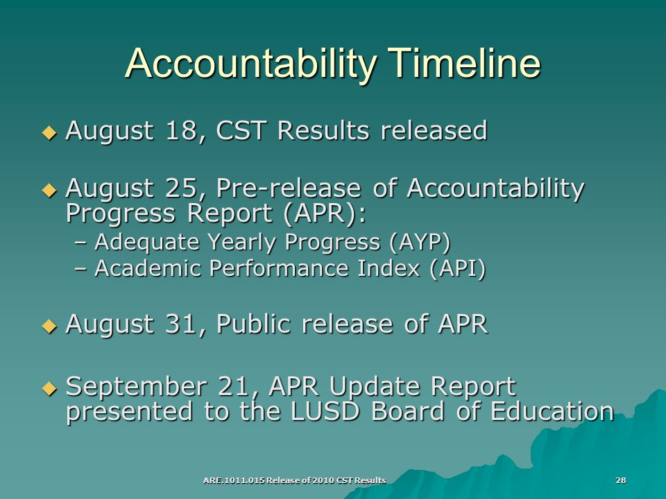 ARE Release of 2010 CST Results 28 Accountability Timeline  August 18, CST Results released  August 25, Pre-release of Accountability Progress Report (APR): –Adequate Yearly Progress (AYP) –Academic Performance Index (API)  August 31, Public release of APR  September 21, APR Update Report presented to the LUSD Board of Education