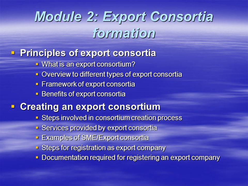 Module 2: Export Consortia formation  Principles of export consortia  What is an export consortium.