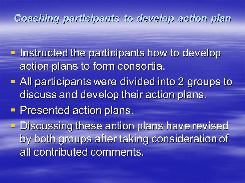 Coaching participants to develop action plan  Instructed the participants how to develop action plans to form consortia.