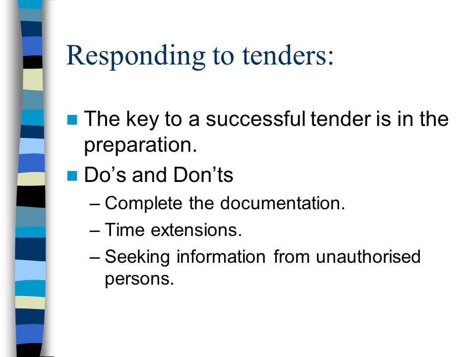 Responding to tenders: The key to a successful tender is in the preparation.