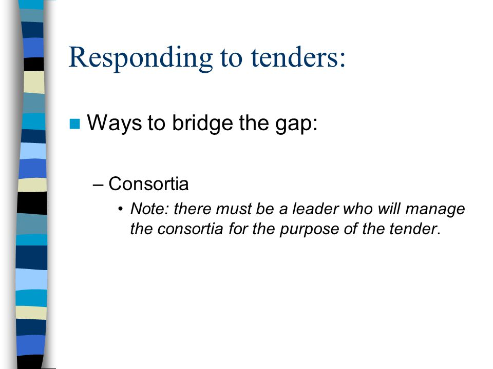 Responding to tenders: Ways to bridge the gap: –Consortia Note: there must be a leader who will manage the consortia for the purpose of the tender.