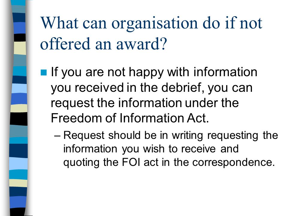 What can organisation do if not offered an award.