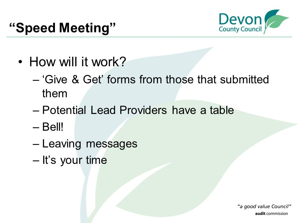 Speed Meeting How will it work.
