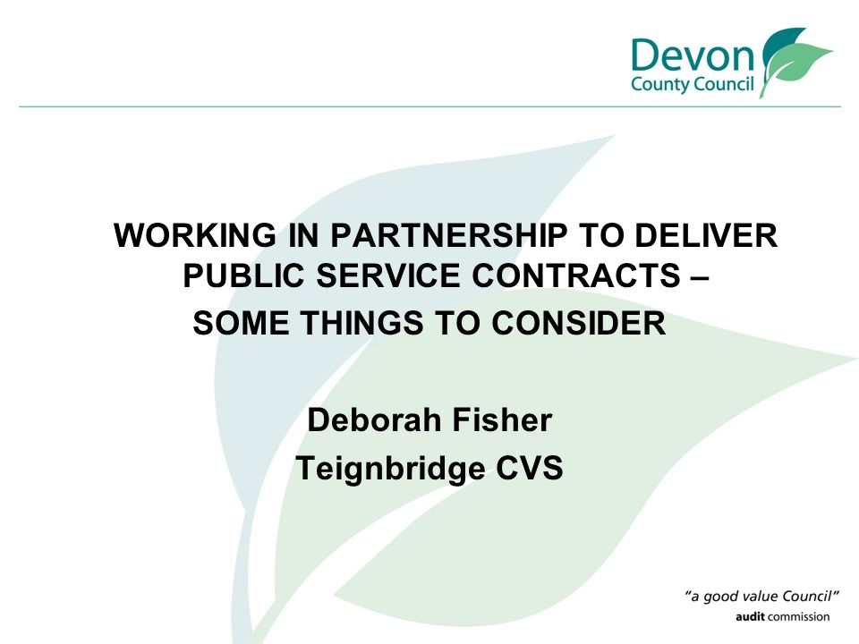 WORKING IN PARTNERSHIP TO DELIVER PUBLIC SERVICE CONTRACTS – SOME THINGS TO CONSIDER Deborah Fisher Teignbridge CVS