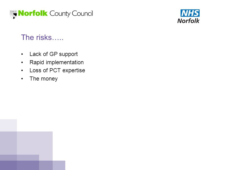 The risks….. Lack of GP support Rapid implementation Loss of PCT expertise The money
