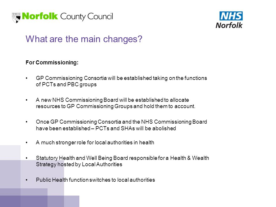 For Commissioning: GP Commissioning Consortia will be established taking on the functions of PCTs and PBC groups A new NHS Commissioning Board will be established to allocate resources to GP Commissioning Groups and hold them to account.