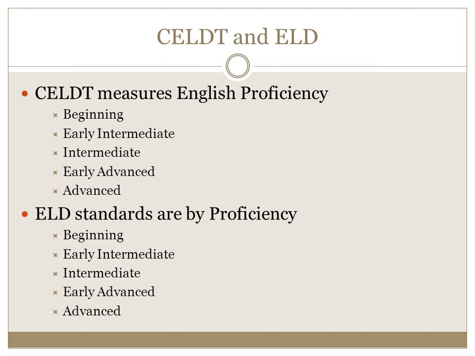 CELDT and ELD CELDT measures English Proficiency  Beginning  Early Intermediate  Intermediate  Early Advanced  Advanced ELD standards are by Proficiency  Beginning  Early Intermediate  Intermediate  Early Advanced  Advanced