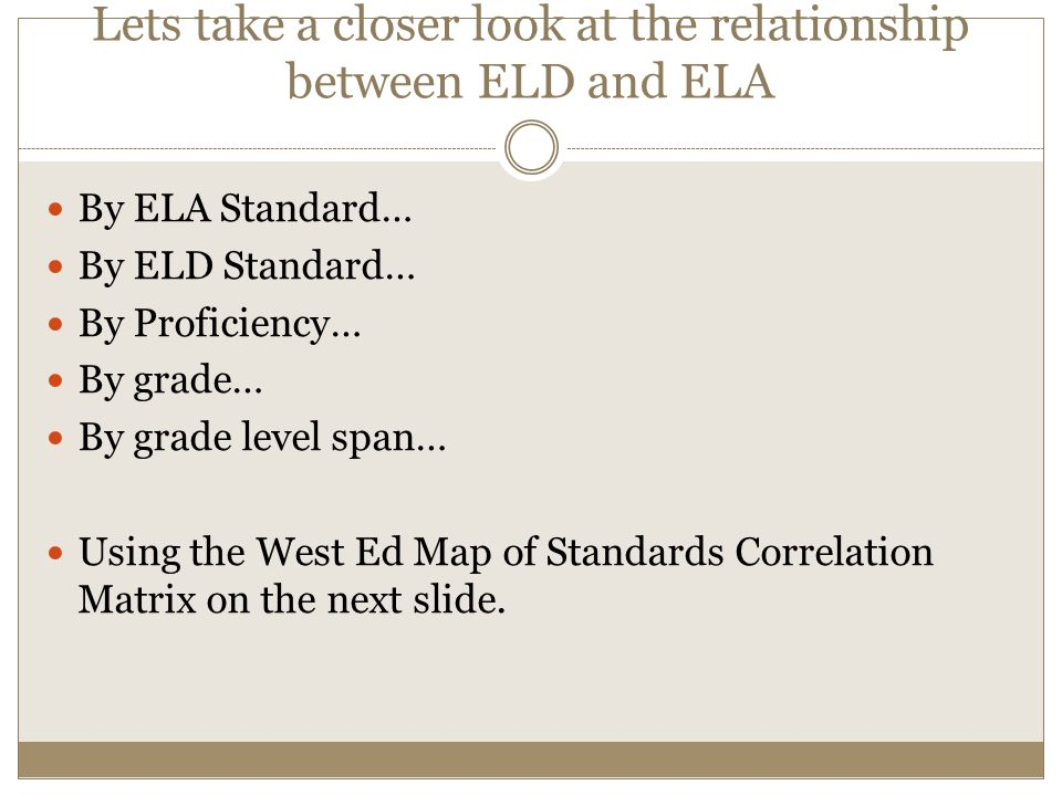 Lets take a closer look at the relationship between ELD and ELA By ELA Standard… By ELD Standard… By Proficiency… By grade… By grade level span… Using the West Ed Map of Standards Correlation Matrix on the next slide.