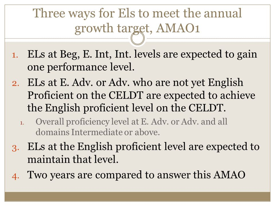 Three ways for Els to meet the annual growth target, AMAO1 1.