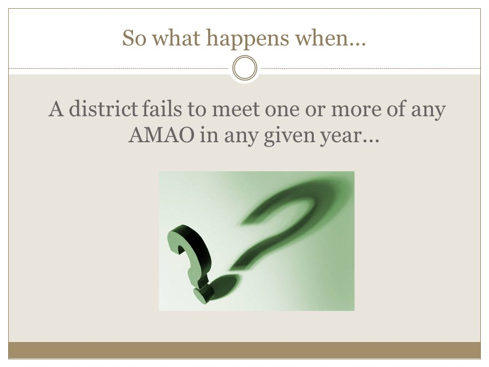 So what happens when… A district fails to meet one or more of any AMAO in any given year...