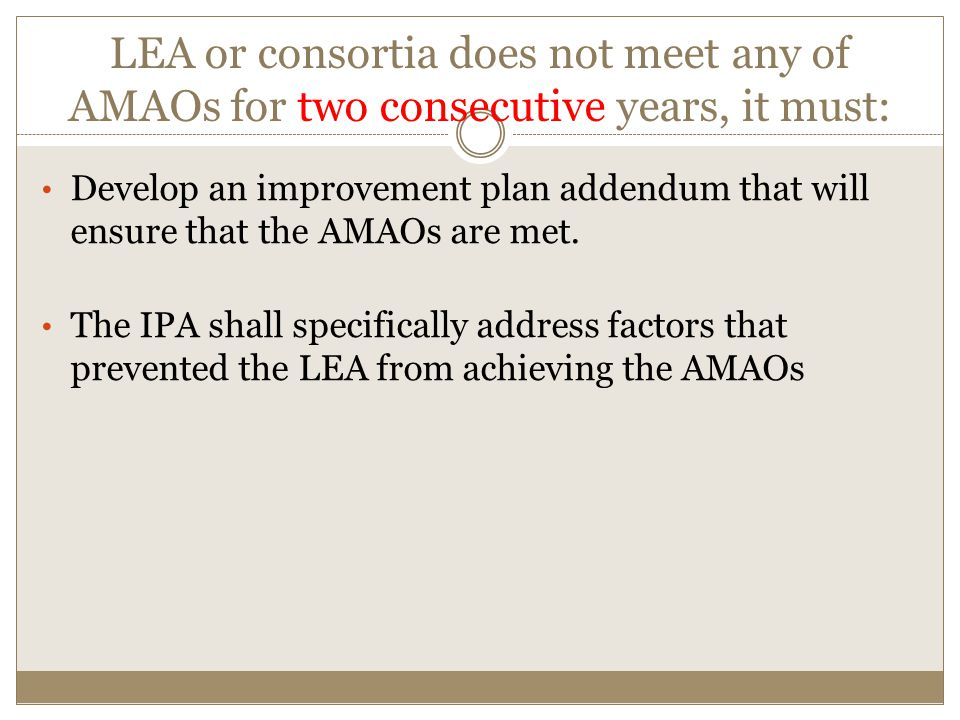 LEA or consortia does not meet any of AMAOs for two consecutive years, it must: Develop an improvement plan addendum that will ensure that the AMAOs are met.