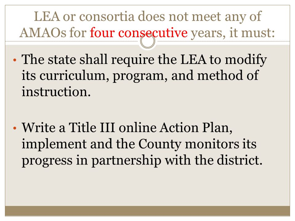 LEA or consortia does not meet any of AMAOs for four consecutive years, it must: The state shall require the LEA to modify its curriculum, program, and method of instruction.