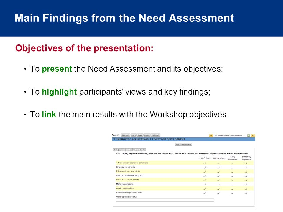 Main Findings from the Need Assessment To present the Need Assessment and its objectives; To highlight participants views and key findings; To link the main results with the Workshop objectives.
