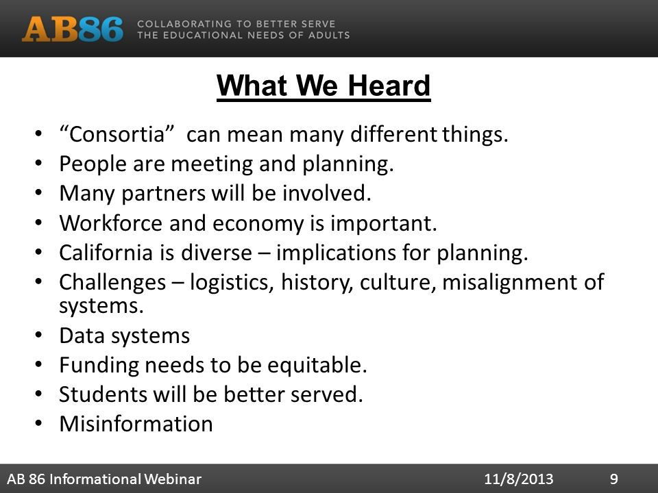 What We Heard Consortia can mean many different things.