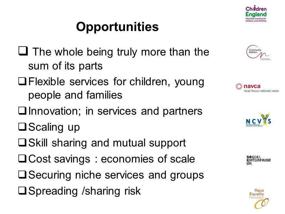 Opportunities  The whole being truly more than the sum of its parts  Flexible services for children, young people and families  Innovation; in services and partners  Scaling up  Skill sharing and mutual support  Cost savings : economies of scale  Securing niche services and groups  Spreading /sharing risk