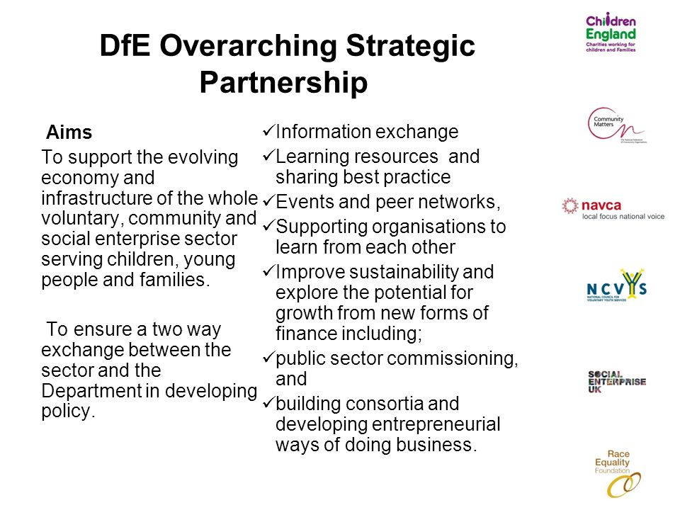 DfE Overarching Strategic Partnership Aims To support the evolving economy and infrastructure of the whole voluntary, community and social enterprise sector serving children, young people and families.