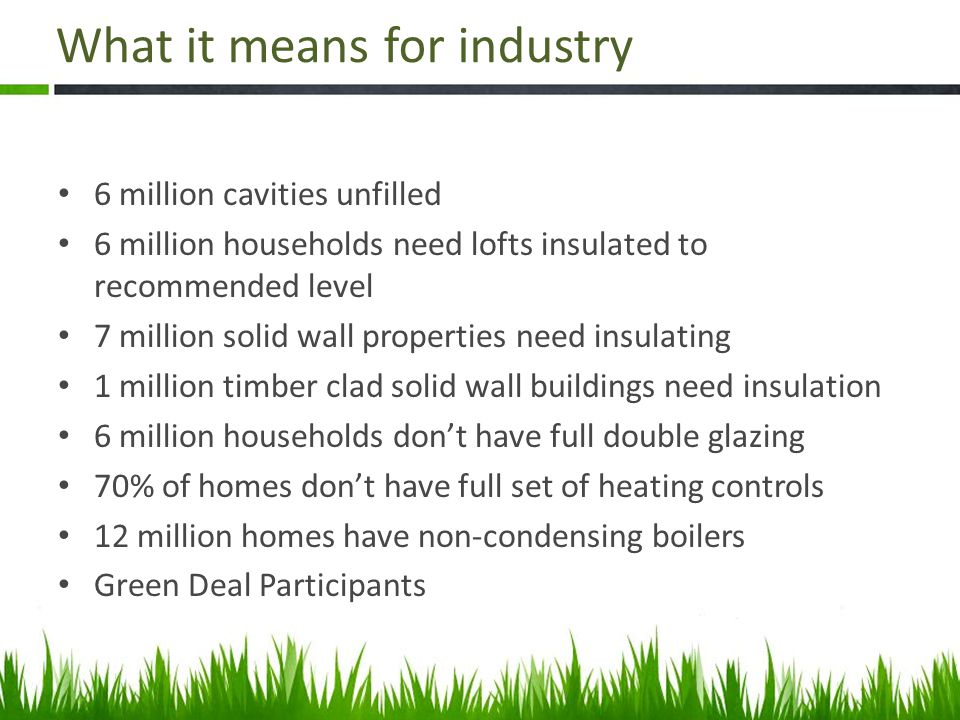 What it means for industry 6 million cavities unfilled 6 million households need lofts insulated to recommended level 7 million solid wall properties need insulating 1 million timber clad solid wall buildings need insulation 6 million households don't have full double glazing 70% of homes don't have full set of heating controls 12 million homes have non-condensing boilers Green Deal Participants