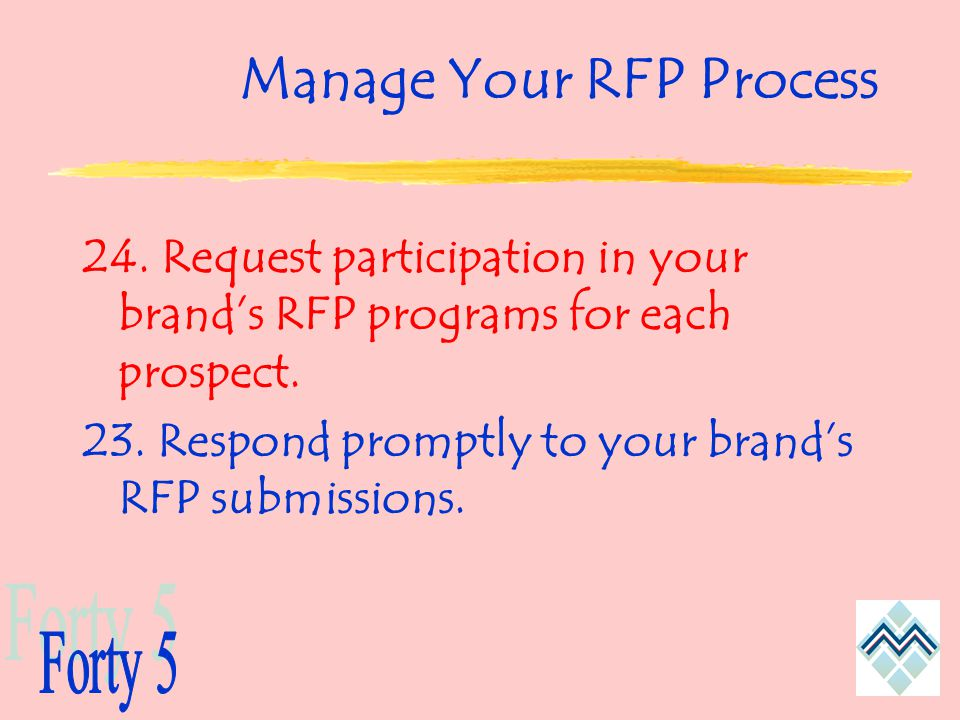 Manage Your RFP Process 24. Request participation in your brand's RFP programs for each prospect.