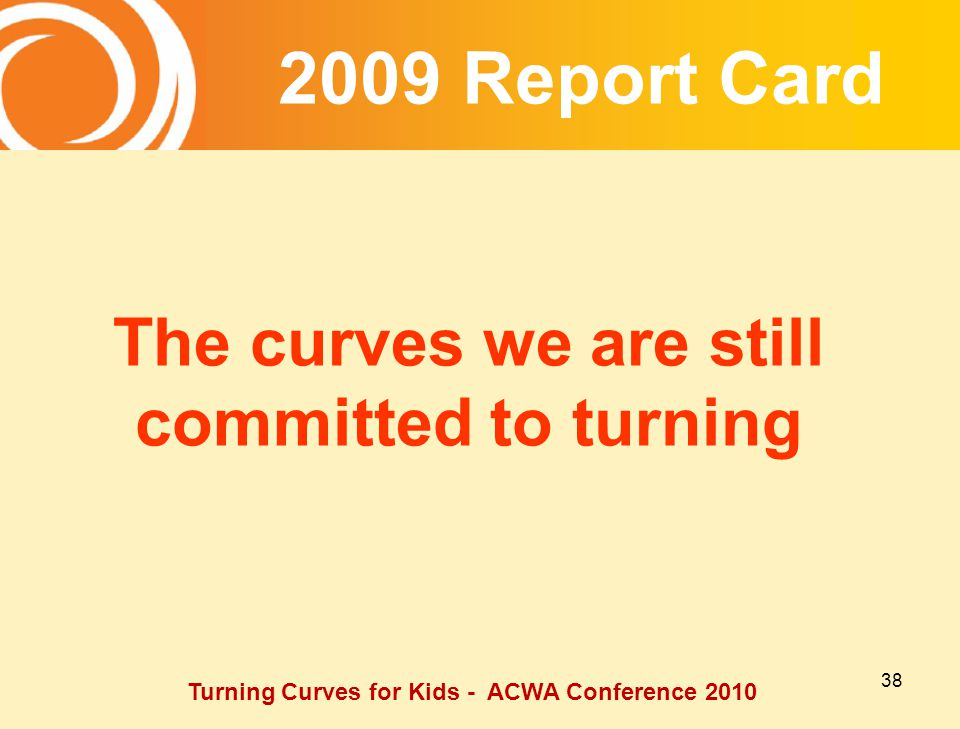 Report Card The curves we are still committed to turning Turning Curves for Kids - ACWA Conference 2010