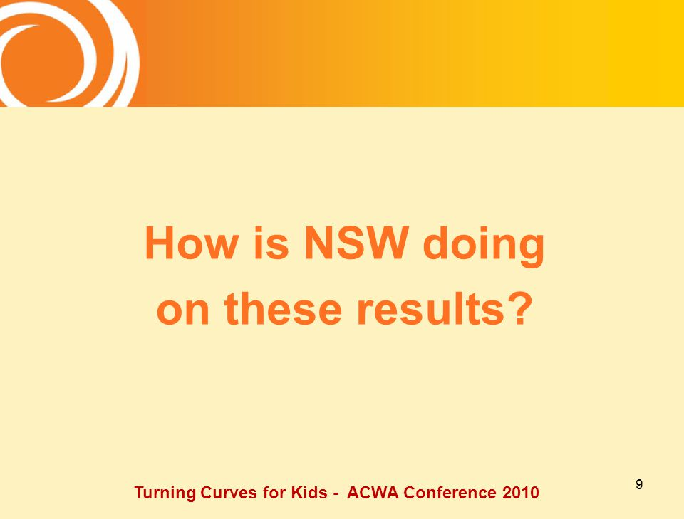 9 How is NSW doing on these results Turning Curves for Kids - ACWA Conference 2010
