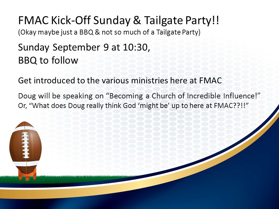 Compassion Concert At FMAC Sunday September 16 10:30 am FMAC Kick-Off Sunday & Tailgate Party!.