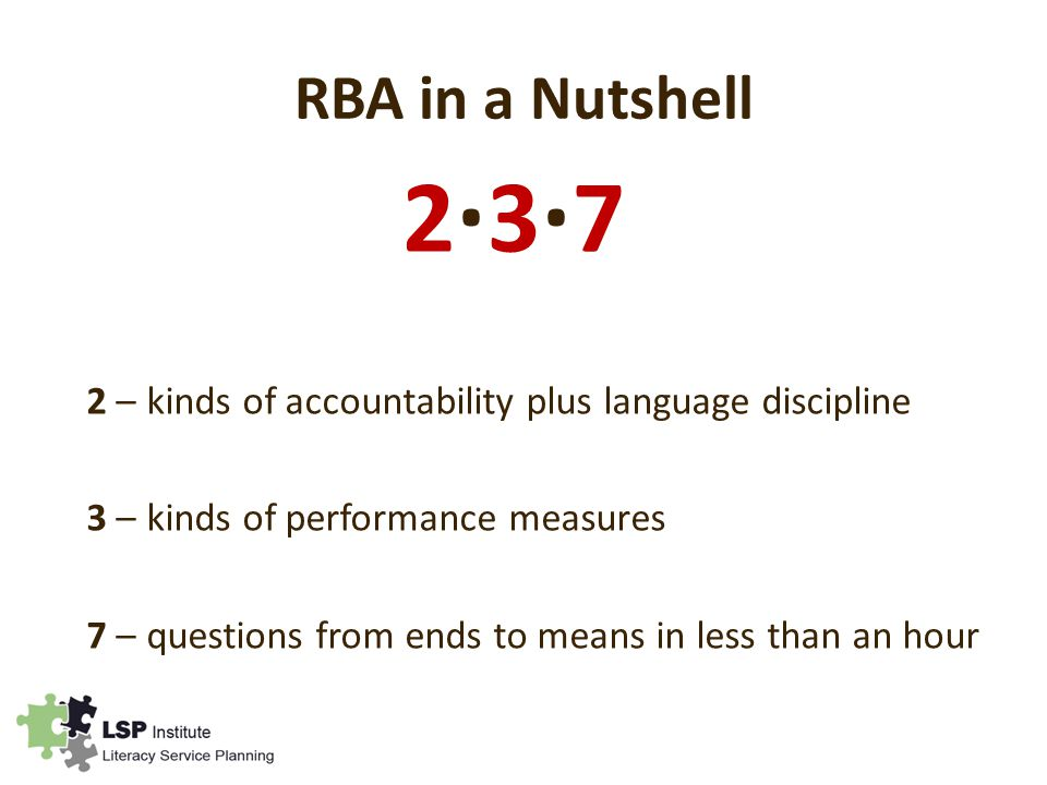 RBA in a Nutshell 2 – kinds of accountability plus language discipline 3 – kinds of performance measures 7 – questions from ends to means in less than an hour 2∙3∙72∙3∙7