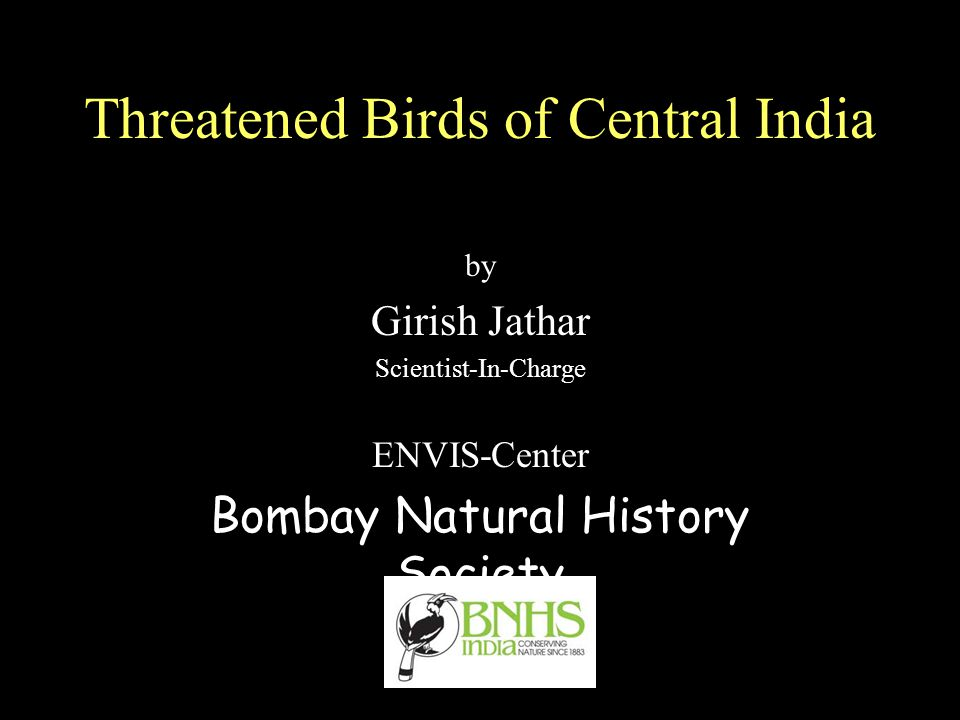 Threatened Birds of Central India by Girish Jathar Scientist-In-Charge ENVIS-Center Bombay Natural History Society