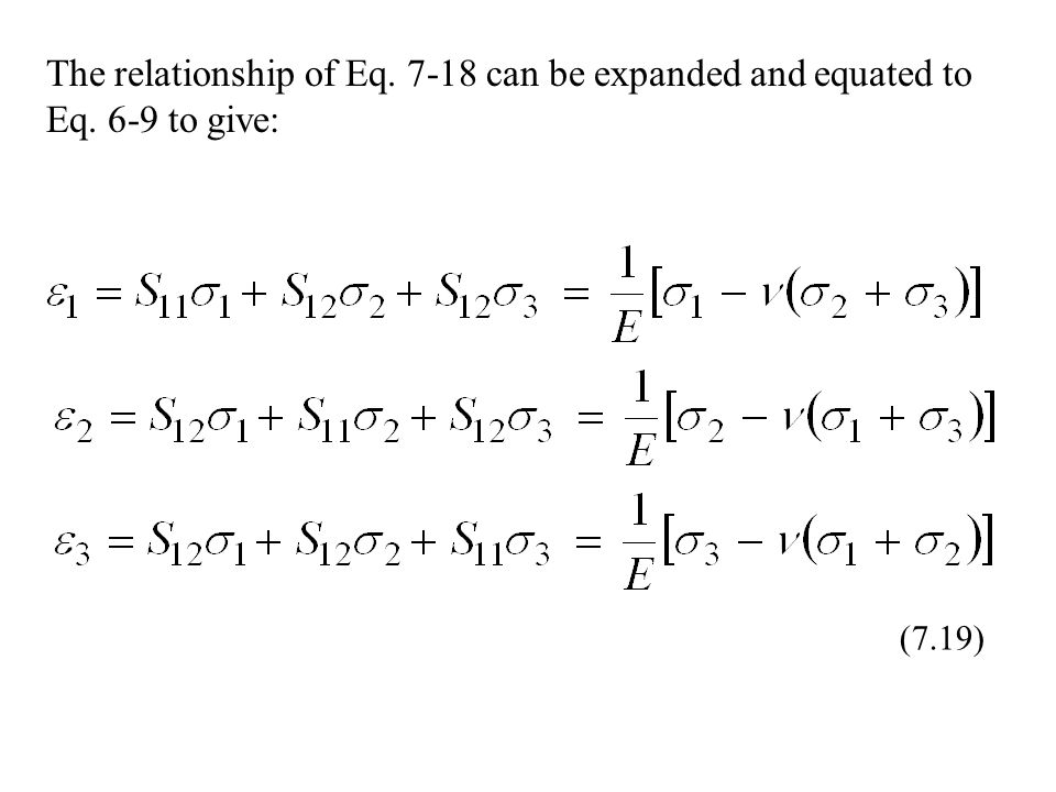 The relationship of Eq can be expanded and equated to Eq. 6-9 to give: (7.19)