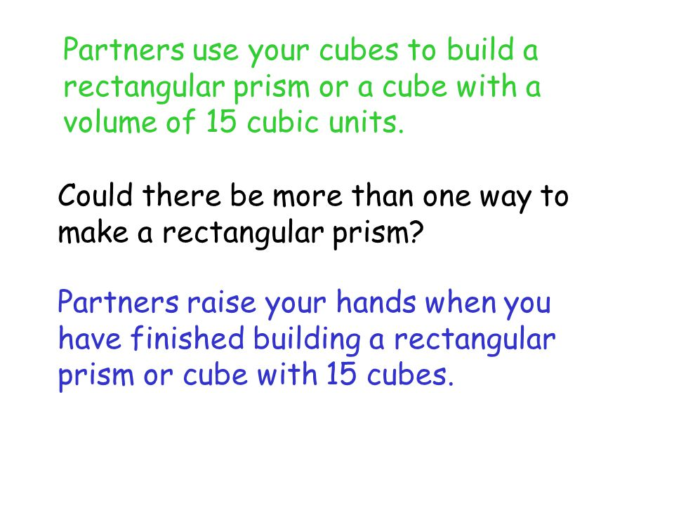 Find the volume of this one! What did you find 24 cubic units Replicate this rectangular prism.