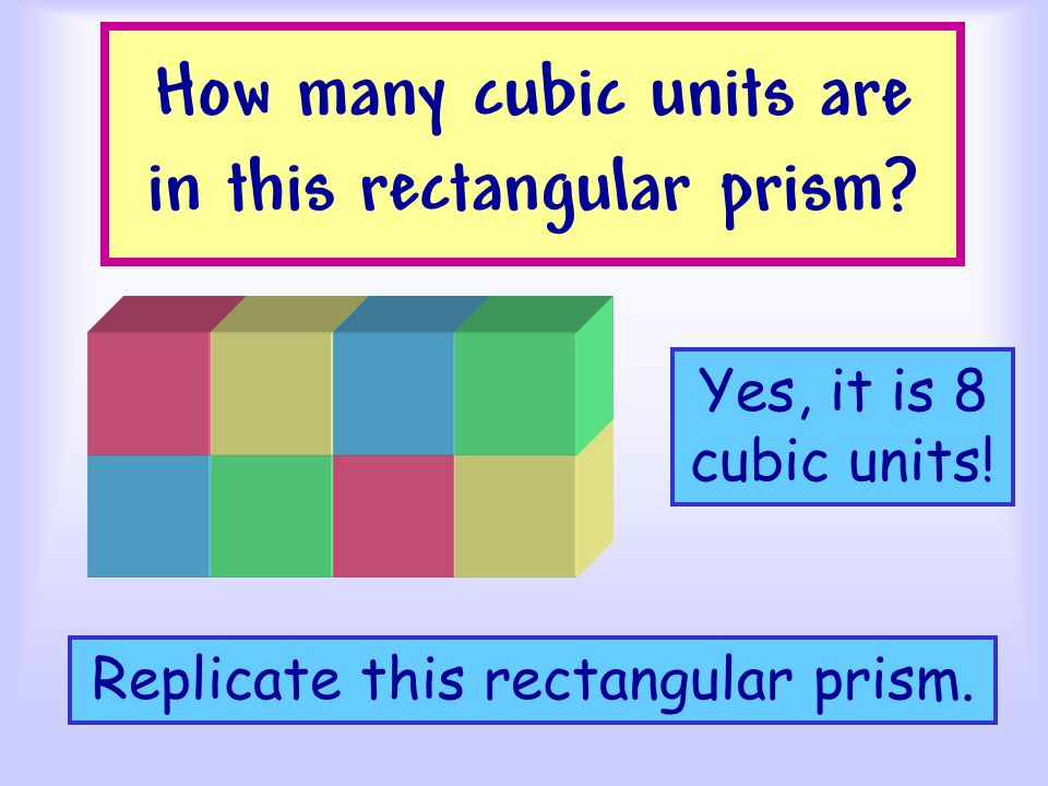 How many cubic units are in this cube Build this cube. Yes, it is 8 cubic units!
