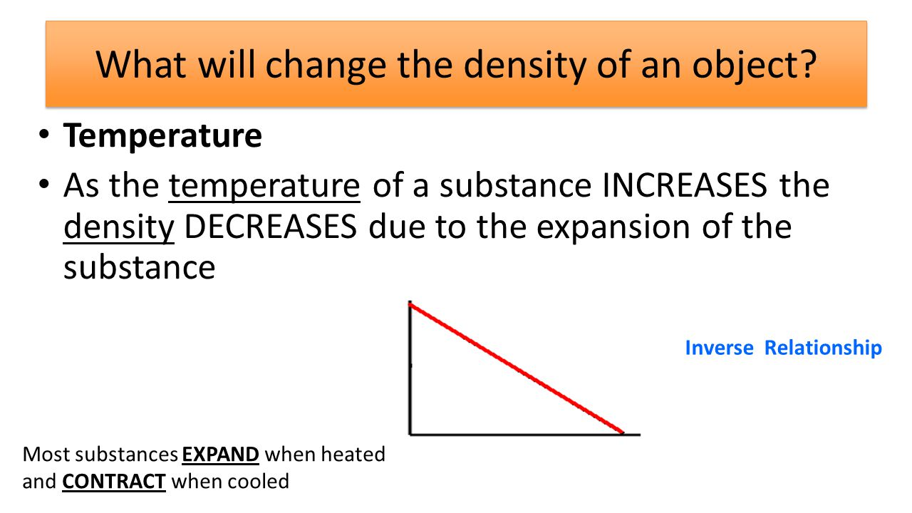 What will change the density of an object.