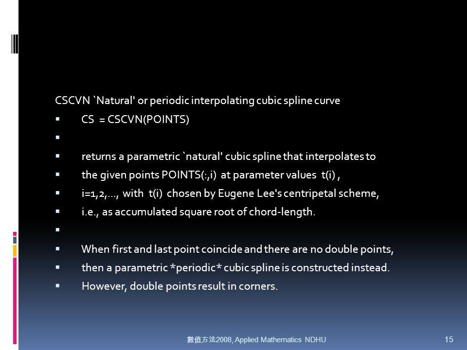 數值方法 2008, Applied Mathematics NDHU 1 Spline