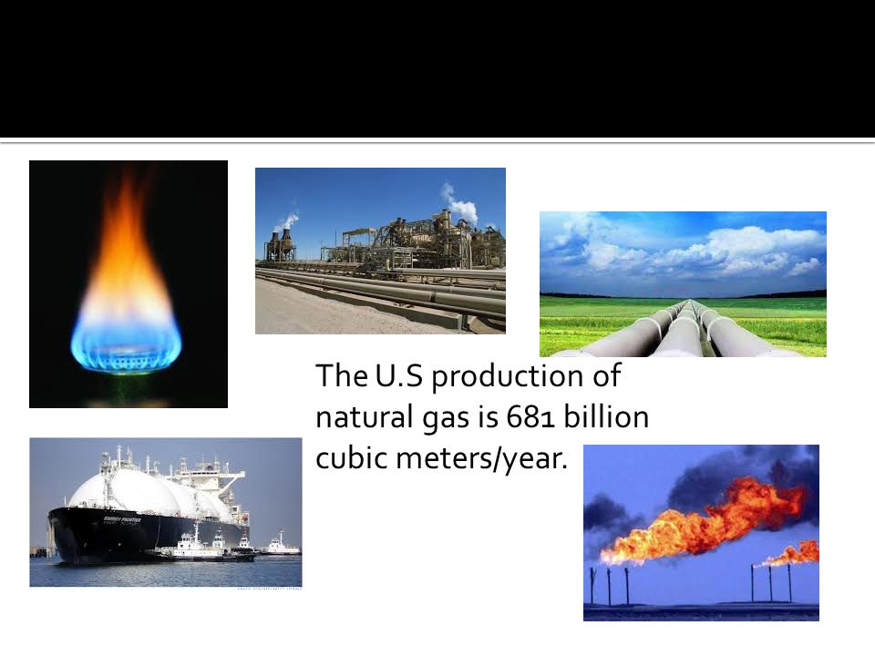 The U.S production of natural gas is 681 billion cubic meters/year.