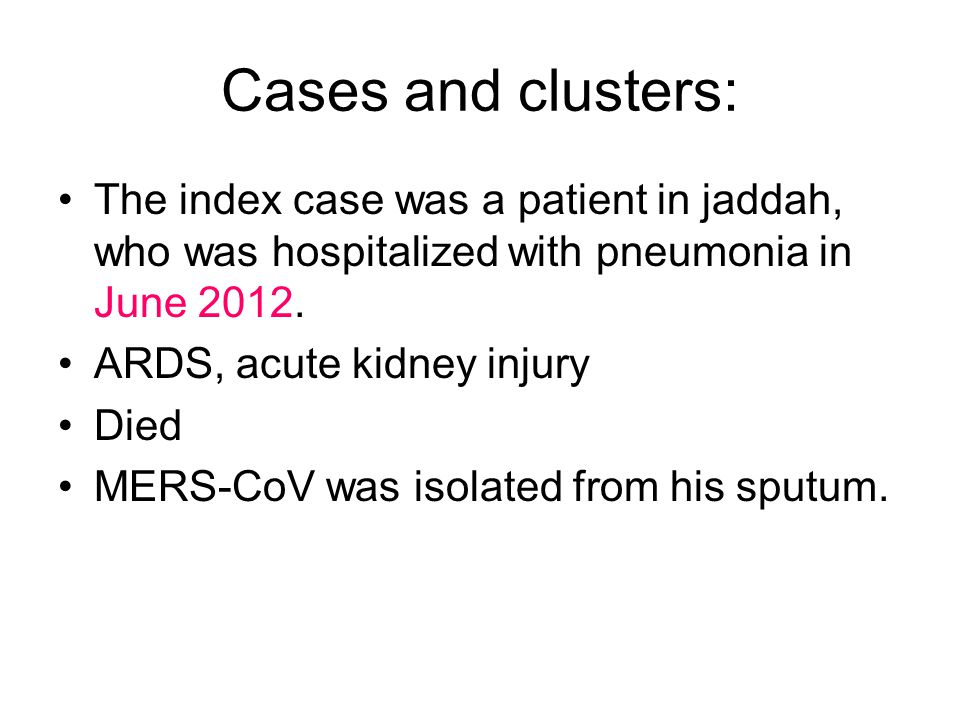 cases and clusters the index case was a patient in jaddah who was hospitalized