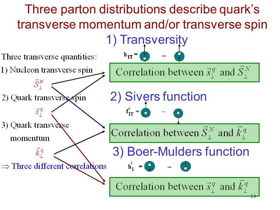 19 Three parton distributions describe quark's transverse momentum and/or transverse spin 1) Transversity 2) Sivers function 3) Boer-Mulders function