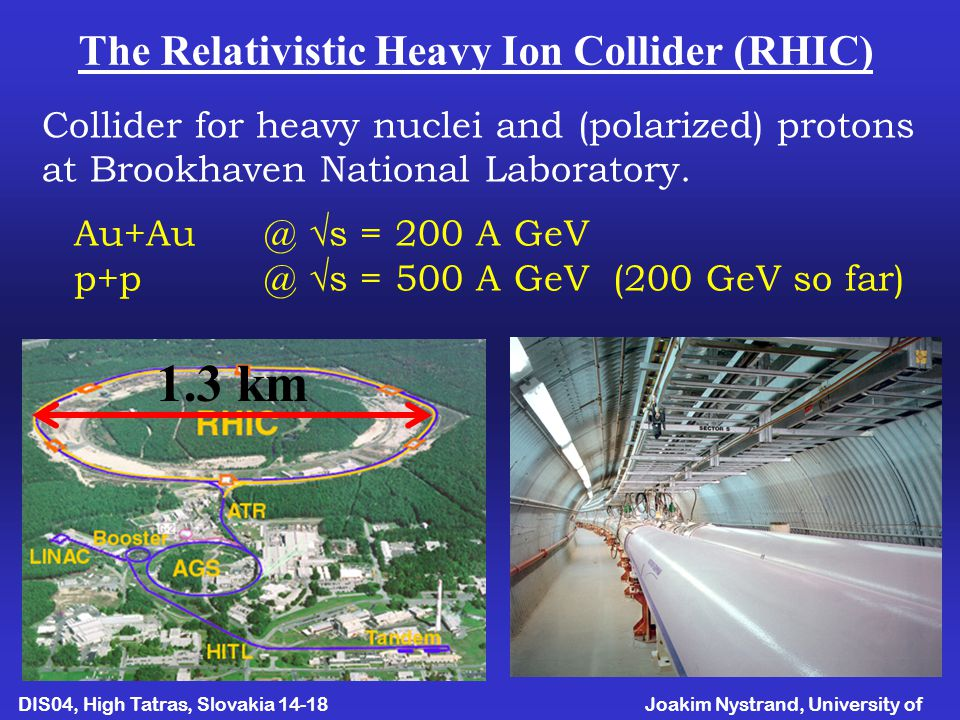Joakim Nystrand, University of Bergen DIS04, High Tatras, Slovakia April The Relativistic Heavy Ion Collider (RHIC) Collider for heavy nuclei and (polarized) protons at Brookhaven National Laboratory.