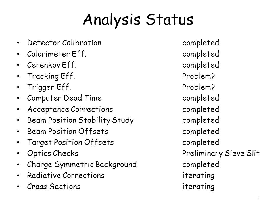 Analysis Status Detector Calibrationcompleted Calorimeter Eff.