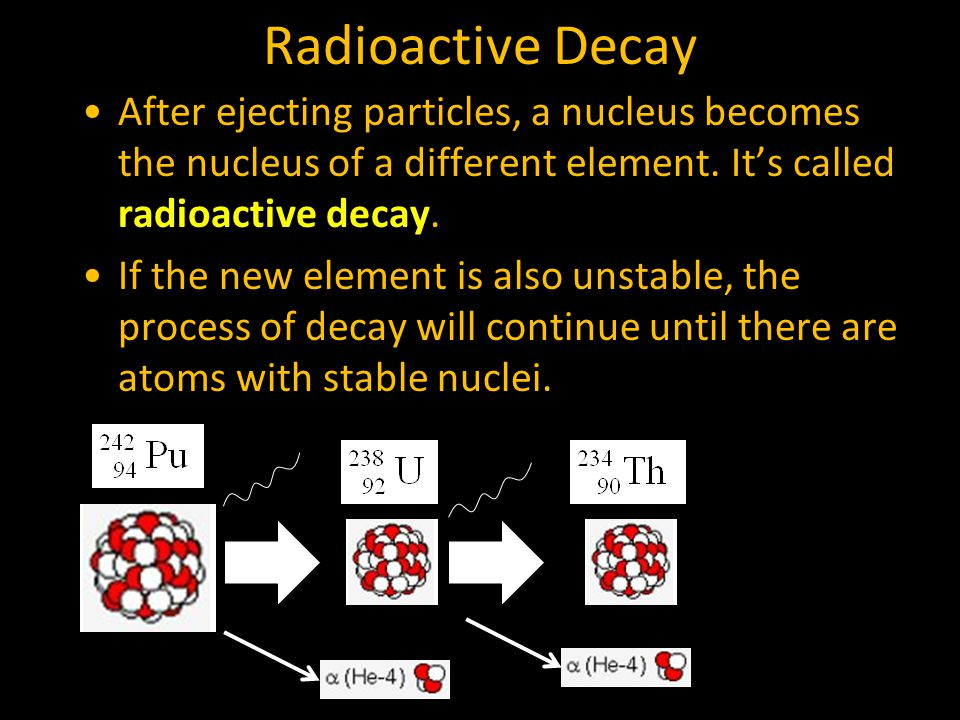 Radioactive Decay After ejecting particles, a nucleus becomes the nucleus of a different element.