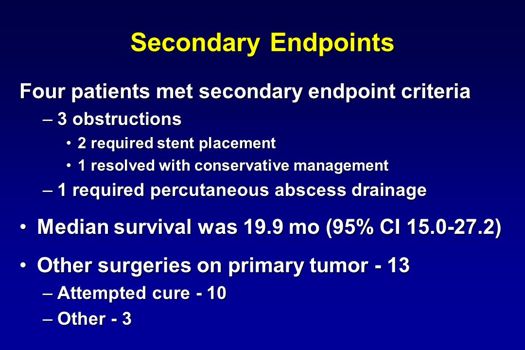 Secondary Endpoints Four patients met secondary endpoint criteria –3 obstructions 2 required stent placement2 required stent placement 1 resolved with conservative management1 resolved with conservative management –1 required percutaneous abscess drainage Median survival was 19.9 mo (95% CI )Median survival was 19.9 mo (95% CI ) Other surgeries on primary tumor - 13Other surgeries on primary tumor - 13 –Attempted cure - 10 –Other - 3