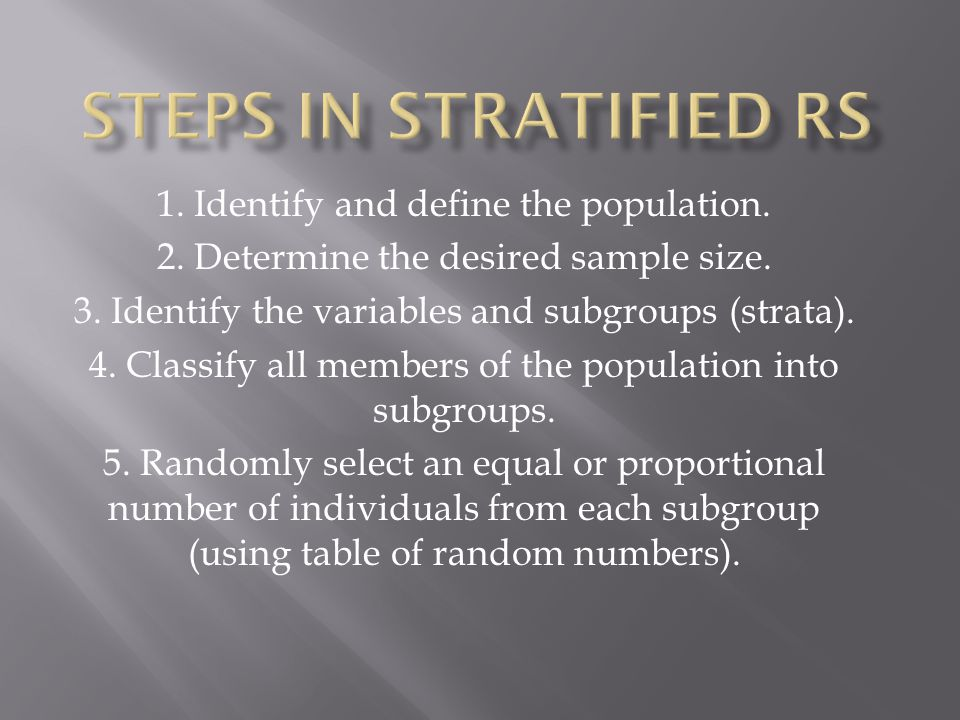 1. Identify and define the population. 2. Determine the desired sample size.